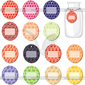 Etiketten für Marmelade von Früchten und Beeren - Vektor-Skizze