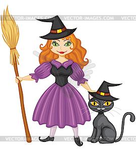 Hexe mit Besen und Kätzchen - Vector-Design