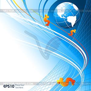 Hintergrund mit Weltkugel und Dollars - Vektor Clip Art