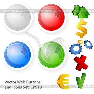 Web Buttons und Icons - Royalty-Free Vektor-Clipart