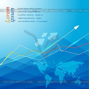 Blauer Hintergrund mit Weltkarte und Pfeilen - Stock Vektorgrafik