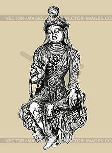 Sketchy Zeichnung der historischen Bodhisattva Skulptur - vektorisierte Grafik