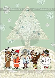 Weihnachtsbaum und Kinder in Maskeraden-Kostümen - vektorisiertes Clip-Art