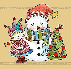 Schneemann mit Mädchen und Weihnachtsbaum - Vector-Design