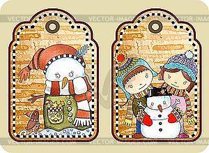 Weihnachts-Etikette mit glücklichem Schneemann - Vector-Clipart / Vektor-Bild