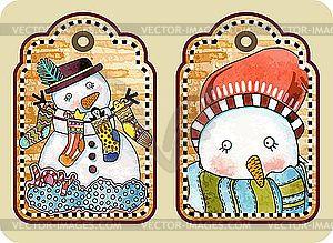 Weihnachts-Etikette mit glücklichem Schneemann - Vektor-Klipart