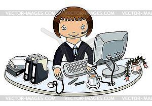 Business-Frau im Amt - Vektorgrafik