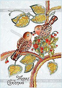 Weihnachtskarte mit Vögeln - farbige Vektorgrafik