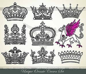 Set von heraldischen Kronen - Vektor-Clipart EPS