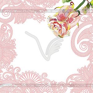 Kunstvolles florales Muster mit Aquarell-Rose - Vektor-Design