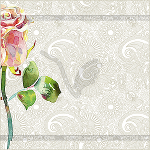 Kunstvolles florales Muster mit rosa Aquarell-Rose - Vector-Clipart EPS