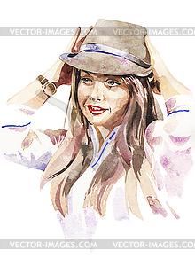 Aquarell-Porträt der jungen Frauen im Hut - Stock Vektorgrafik