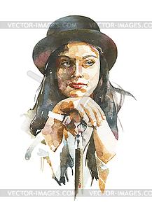 Aquarell-Porträt der Frau im Hut - Vector-Bild