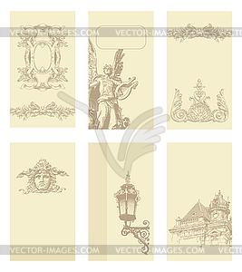 Klassische alte Vintage-Designs für Rahmen und Grußkarten - vektorisierte Abbildung