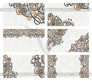 Set von Visitenkarte mit Blumenmuster - Vektor-Clipart / Vektorgrafik