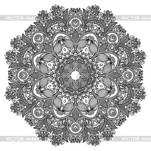 Kreis Ornament, ornamentale runden Spitzen - schwarzweiße Vektorgrafik