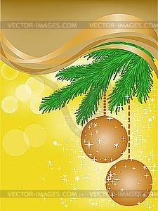 Gelbe Karte mit Fichte Äste und Weihnachtskugeln - Klipart