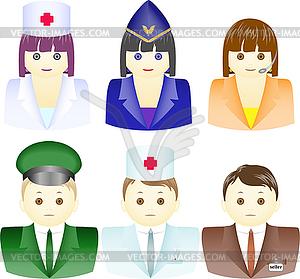 Icons von Menschen unterschiedlicher Berufe - Royalty-Free Clipart