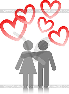 Junges Paar in Liebe - Vektor-Clipart EPS