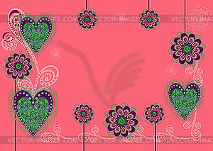 Hintergrund mit Blumen und Herzen - farbige Vektorgrafik