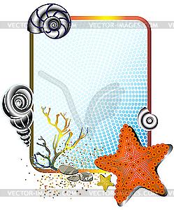 Meerleben - Rahmen mit Seesternen - Vector-Design