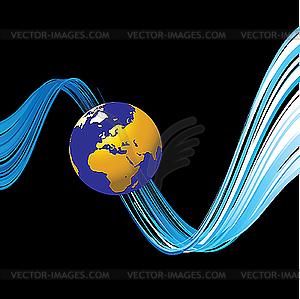 Abstrakte farbige Linien und Weltkugel - Vektorgrafik