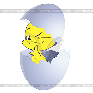 Gelbes Küken im Ei - Vektor-Illustration