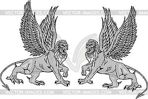 Zwei mythologische Greifen. - vektorisiertes Bild