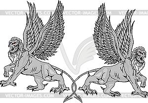 Zwei mythologische Greifen. - vektorisierte Grafik