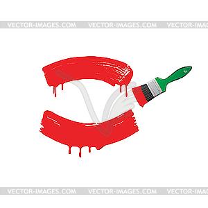 Rote Farbe und grüner Pinsel - Vektorgrafik-Design