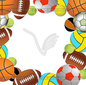 Tennisball, Rugby, Basketball und Volleyball - vektorisierte Abbildung