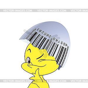 Barcode auf einer Eierschale und Küken - Vektor-Bild