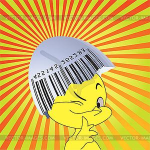 Barcode auf eine Eierschale und Huhn. - Vector-Abbildung