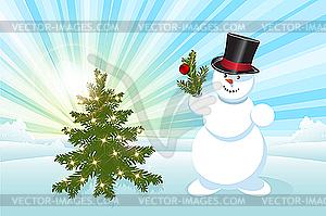 Schneemann und Weihnachtsbaum - vektorisiertes Bild