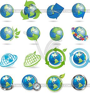 Icons mit Weltkugeln - Vektor-Clipart EPS