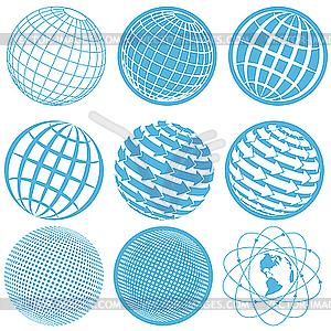 Icons mit Erdkugel - Vector Clip Art