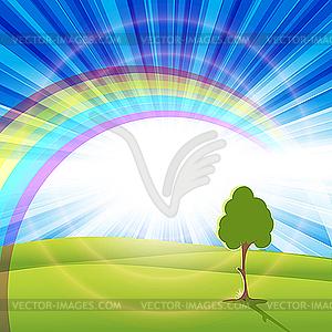 Regenbogen und Baum - Vektor-Clipart