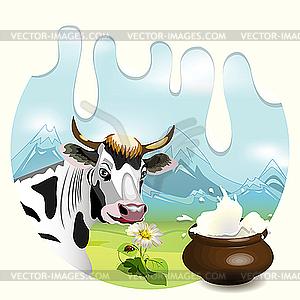Milch und Kuh - Vektor-Design