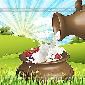 Beeren und Milch - Vektorabbildung