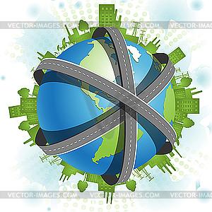 Дороги поверх Земного шара - рисунок в ...: vector-images.com/clipart/clp140338/?lang=rus