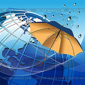 Globe unter dem Dach - Stock-Clipart
