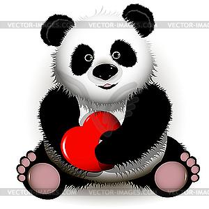 Panda mit Herzen - Klipart