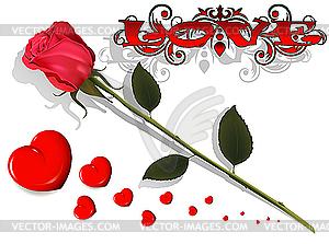 Liebe - Rose und Herze - Stock-Clipart