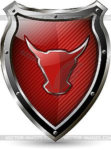 Schild mit dem roten Stier - Vektor-Clipart / Vektor-Bild