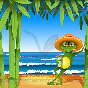 Frosch auf Strand - Clipart