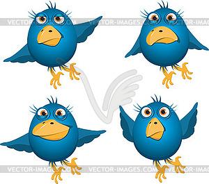 Blaue Vögel - Vektor-Clipart