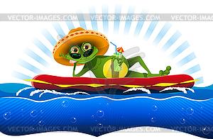 Frosch auf der Wassermatratze - Royalty-Free Vektor-Clipart