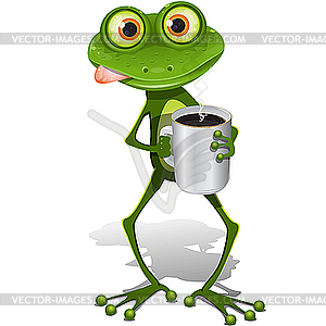 Frog drinking coffee for Frog consulting