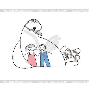 Zeichen Betreuung von Kindern - Vektor-Design