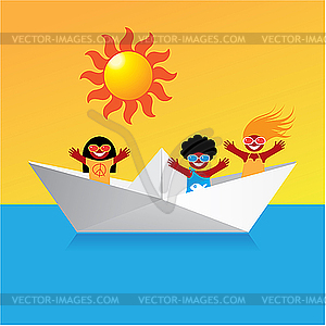 Boot mit glücklichen Kindern - Vektor-Skizze